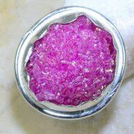 טבעת משובצת אגט טיטניום ורוד כסף 925 מידה: 6