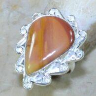 טבעת משובצת ג'ספר כתום כסף 925 מידה: 7.5