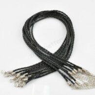 תכשיטנות: חישוק עור שחור עיצוב צמה לצמיד