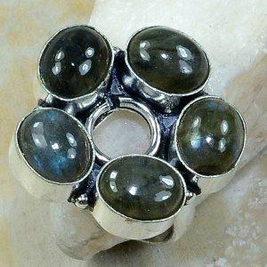 טבעת משובצת 5 אבני לברדורייט כסף 925 מידה 10