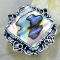 טבעת בשיבוץ אבאלון כסף 925 מידה 7.5