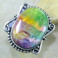 טבעת בשיבוץ אבן אגט דרוזי כסף 925 מידה: 7.75