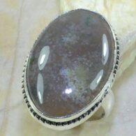 טבעת בשיבוץ אבן אגט אוושן אפרפר כסף 925 מידה: 7.5