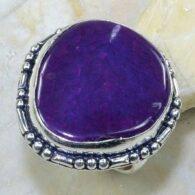 טבעת בשיבוץ אבן אגט בוטוצ'ואנה סגול כסף 925 מידה: 8.25