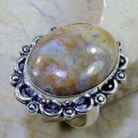 טבעת בשיבוץ ג'ספר חום אפרפר כסף 925 מידה:10.25