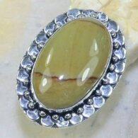 טבעת בשיבוץ ג'ספר צהוב חרדל כסף 925 מידה: 9