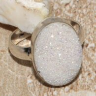 טבעת בשיבוץ אבן טיטניום דרוזי לבן כסף 925 מידה: 8