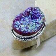 טבעת בשיבוץ טיטניום סגלגל כסף 925 מידה: 9