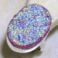 טבעת בשיבוץ טיטניום כסף 925 מידה: 8.75