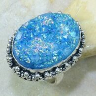 טבעת בשיבוץ אבן טיטניטם דרוזי כחול כסף 925 מידה: 8.25