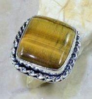 טבעת בשיבוץ אבן טייגר אי זהב כסף 925 מידה: 9.75