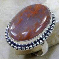 טבעת בשיבוץ מוס אגט חום אפרפר כסף 925 מידה: 8.25