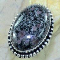 טבעת בשיבוץ אבן רובי זוסילייט כסף 925 מידה:6.75