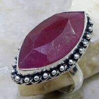 טבעת כסף בשיבוץ אבן רובי כסף 925 מידה: 8.25