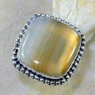 טבעת בשיבוץ אגט בוטוצ'ואנה כסף 925 מידה: 5.75