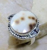טבעת בשיבוץ צדף כסף 925 מידה: 8.75