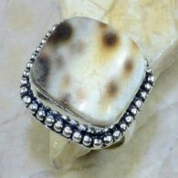 טבעת בשיבוץ צדף כסף 925 מידה: 9.75