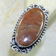 טבעת משובצת ג'בפר חום אדמדם כסף 925 מידה: 7