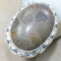 טבעת משובצת ג'ספר אוטומן כסף 925 מידה: 7.75