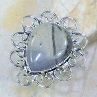 טבעת משובצת ג'ספר אפור כסף 925 מידה: 8.5