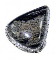 טבעת משובצת ג'ספר אפור שחור כסף 925 מידה: 10