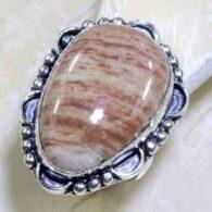 טבעת משובצת ג'ספר גווני חום מנומר כסף 925 מידה: 9