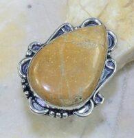 טבעת משובצת ג'ספר חום צהוב כסף 925 מידה: 8.75