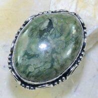 טבעת משובצת ג'ספר ירוק כסף 925 מידה: 7.75