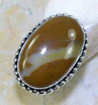 טבעת משובצת ג'ספר כסף 925 מידה: 8