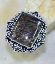 טבעת משובצת ג'ספר פיקסו כסף 925 מידה: 8.75
