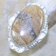 טבעת משובצת ג'ספר פיקצ'ר כסף 925 מידה: 6