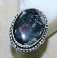 טבעת משובצת ג'ספר צבעוני כסף 925 מידה: 9