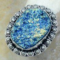 טבעת משובצת טיטניום כחול כסף 925 מידה: 8.25