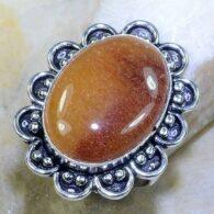 טבעת משובצת אבן קלציט דבש כסף 925 מידה: 9