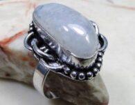 טבעת משובצת מונסטון כסף 925 מידה 8.5