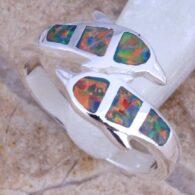 טבעת משובצת אופל אדום כסף 925