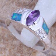 טבעת משובצת אופל ואמטיסט כסף 925