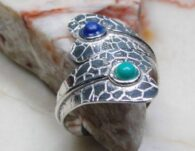 טבעת משובצת טורקיז ולאפיס לג'ולי כסף 925