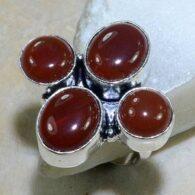 טבעת משובצת קרנליאן כסף 925 מידה: 7.5