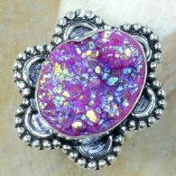 טבעת משובצת אגט טיטניום ורוד סגול כסף 925 מידה: 9.5