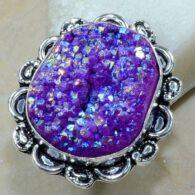 טבעת משובצת אגט טיטניום סגול כסף 925 מידה: 8.25