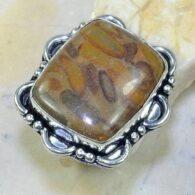טבעת משובצת ג'ספר אוטומן כסף 925 מידה: 9.25