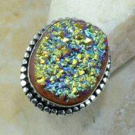 טבעת משובצת באבן טיטניום חום כחלחל כסף 925 מידה: 8