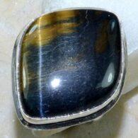 טבעת משובצת באבן טייגר אי זהב כסף 925 מידה: 8