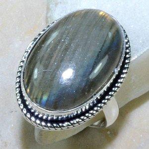 טבעת משובצת באבן לברדורייט כסף 925 מידה : 7.75