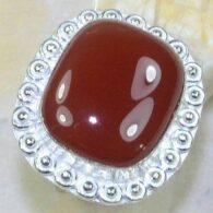 טבעת משובצת קרנליאן כסף 925 מידה: 8.5