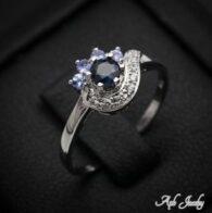 טבעת משובצת ספיר כסף 925
