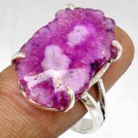 טבעת משובצת אמטיסט כסף 925 מידה: 8