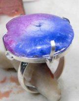 טבעת משובצת ספיר ואמטיסט כסף 925 מידה: 7