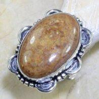 טבעת משובצת ג'ספר צבעי אדמה כסף 925 מידה: 6.5